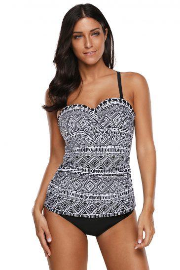 Print Pattern 2pcs Tankini Swimsuit