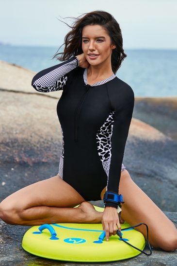 Long Sleeve Zip Front One Piece Swimsuit