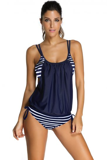 Bikini Layered-Style Cross Back Tankini Swimsuit Set