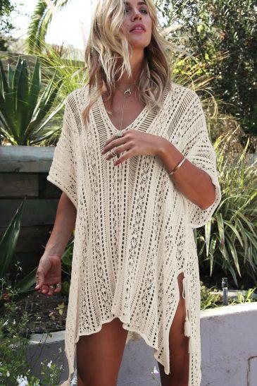Beachwear Knitted Tassel Tie Kimono Beach Dresses