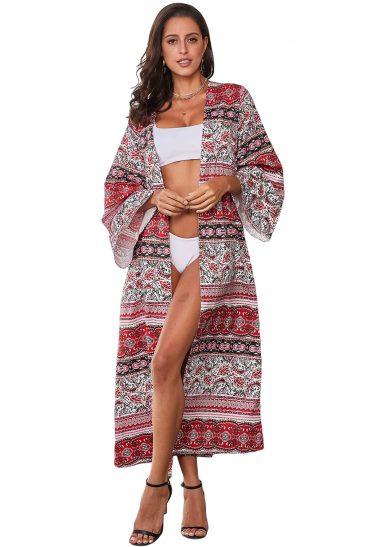 Boho Print Long Sleeve Open Front Summer Beachwear