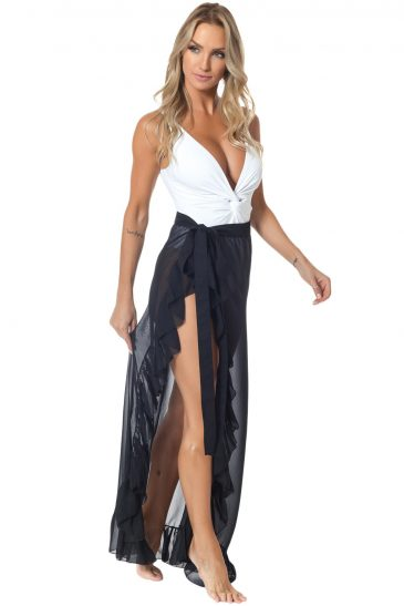 Ruffled Tulle Beach Cover up Maxi Skirt