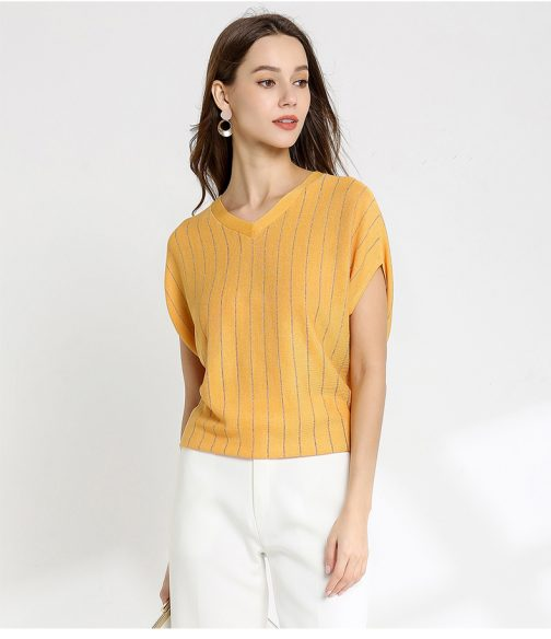 Short Sleeved Knit Tops T Shirt Sweater