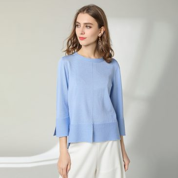 Asymmetric Slit Knit Tops Sweater